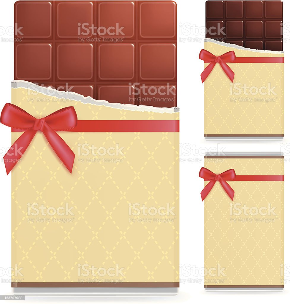 Milk and Dark chocolate bar vector art illustration
