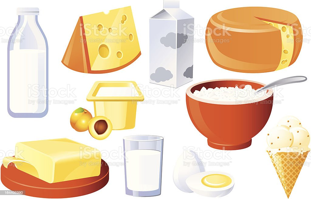 Milk and farm products royalty-free stock vector art