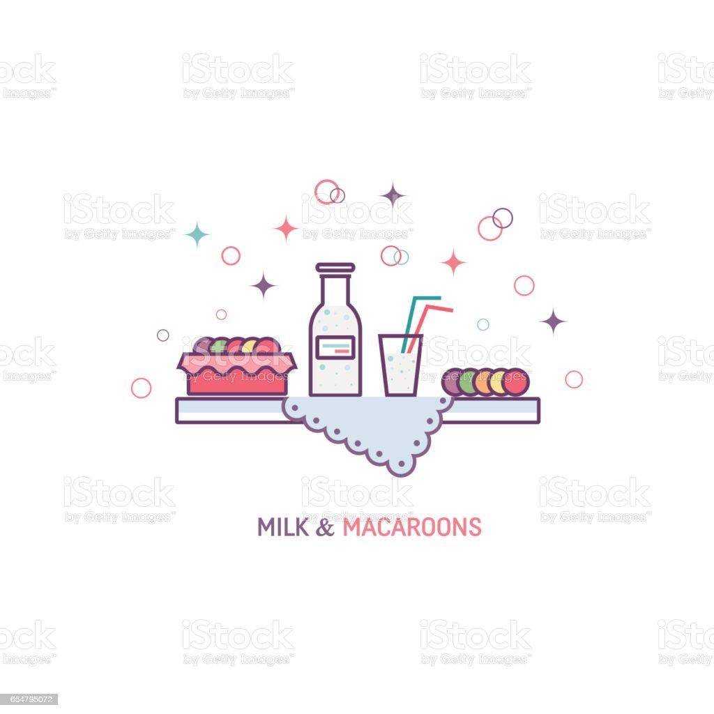 Milk and Macaroons vector art illustration