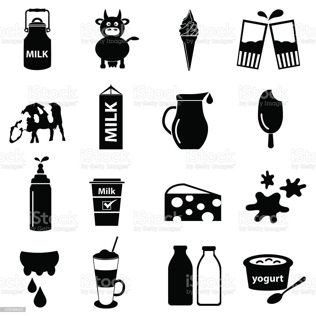 milk and milk product theme icons set eps10 vector art illustration