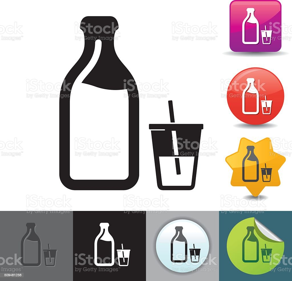 Milk bottle icon | solicosi series vector art illustration