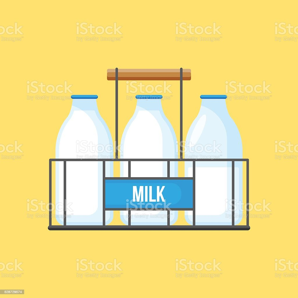 Milk bottles in wire carrier for graphic and web design vector art illustration