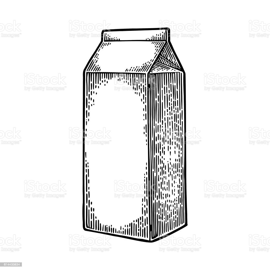 Milk box carton package. Vector engraving vintage black illustration....