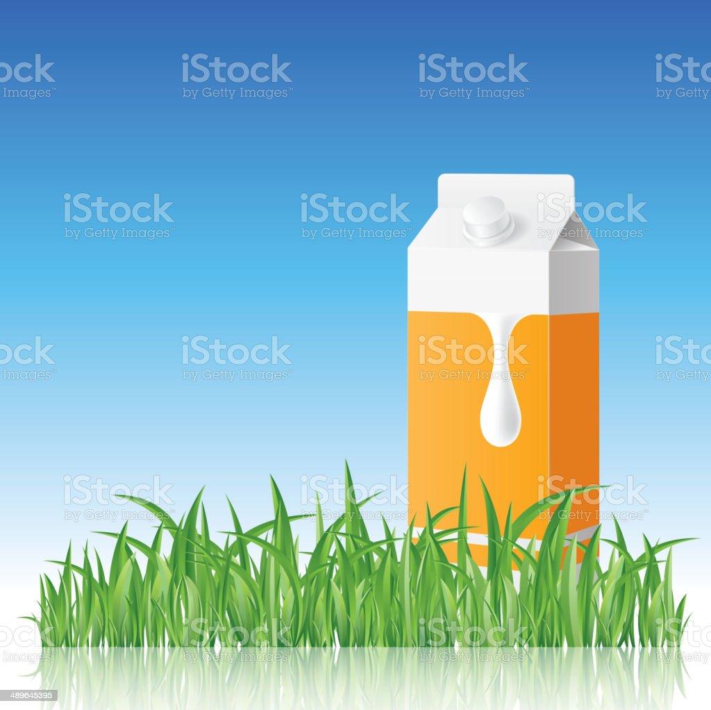Milk box on grass royalty-free stock vector art