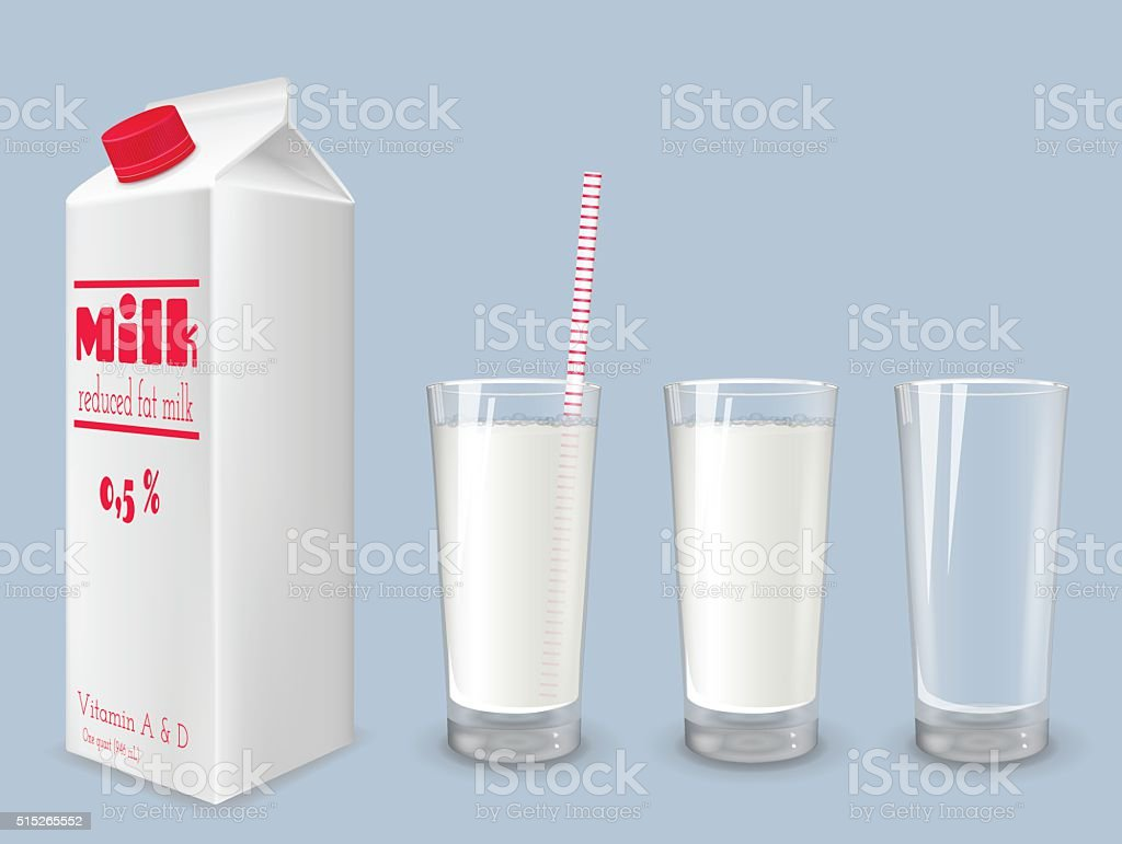 Milk carton and glass of milk. vector art illustration