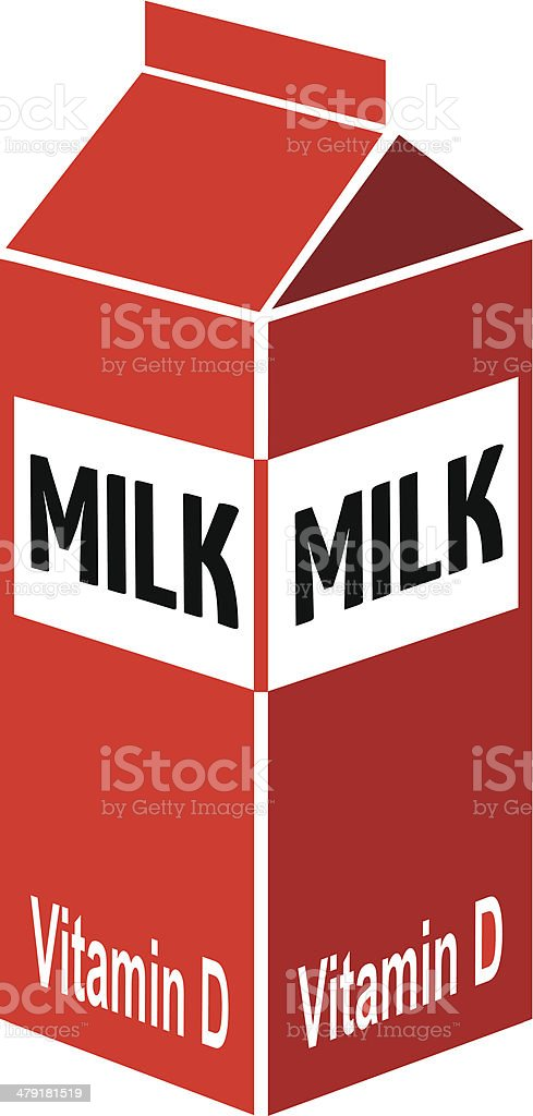 milk carton in color vector art illustration