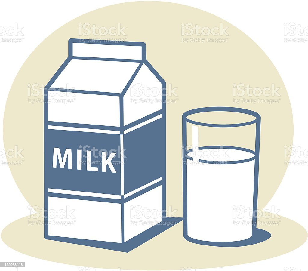 Milk carton with glass of milk vector art illustration