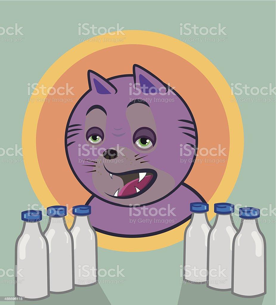 Milk cat royalty-free stock vector art