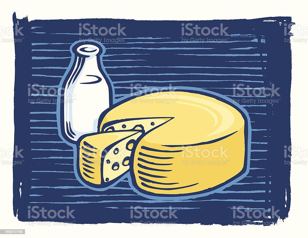 Milk & Cheese Woodcut style vector art illustration