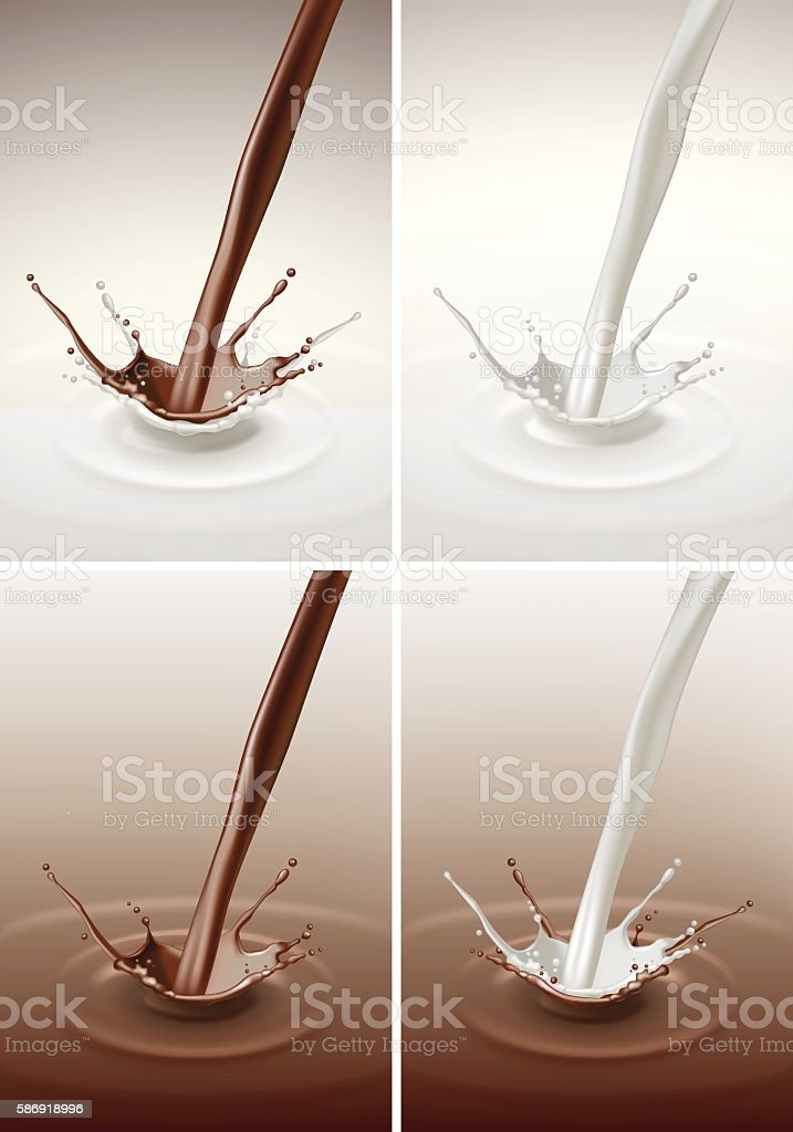 Milk Chocolate Splash Stream Flow Isolated on Background vector art illustration