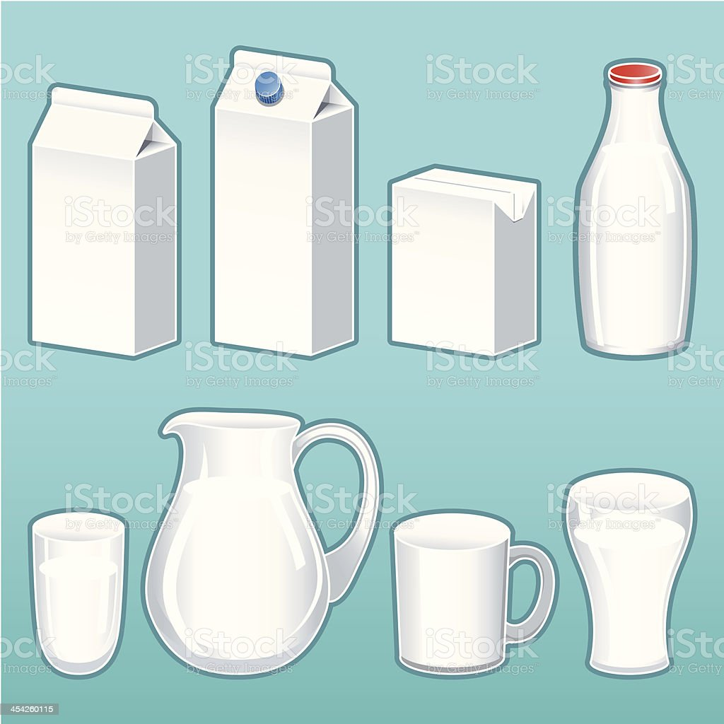 Milk Containers vector art illustration