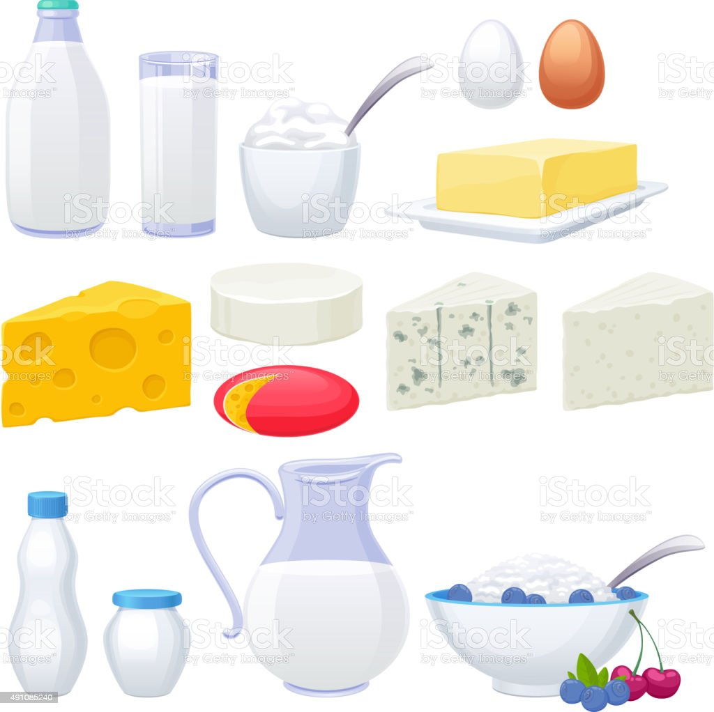 Milk dairy products icons set vector art illustration