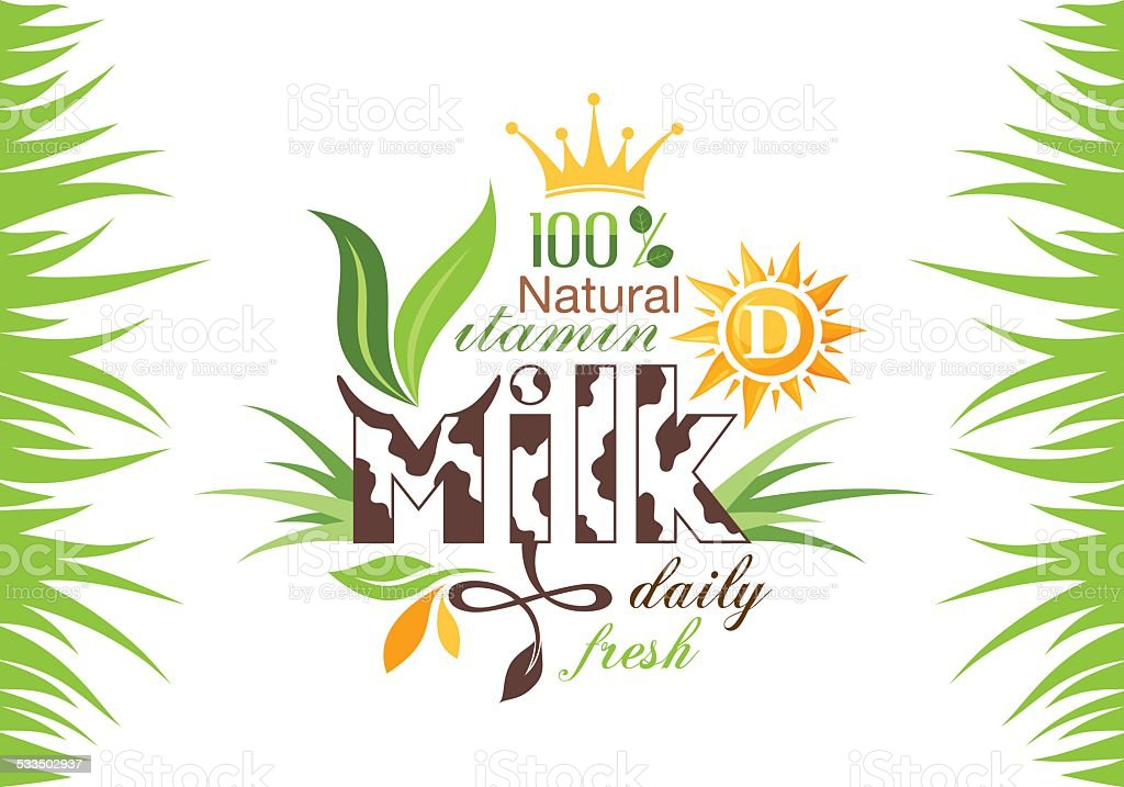 Milk emblem vector art illustration