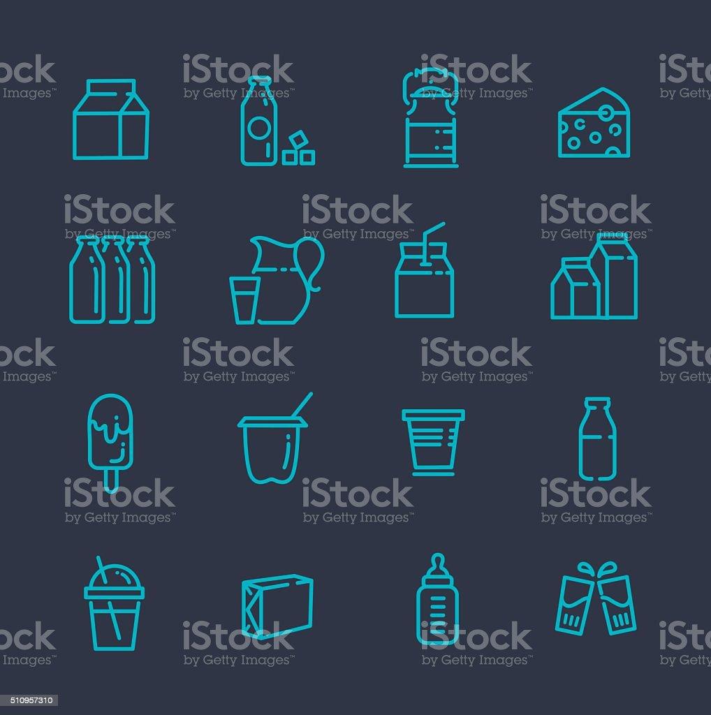 Milk icons vector art illustration