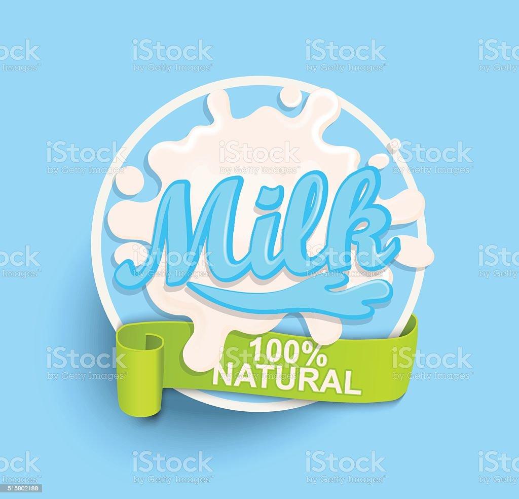 Milk label splash. Natural. vector art illustration