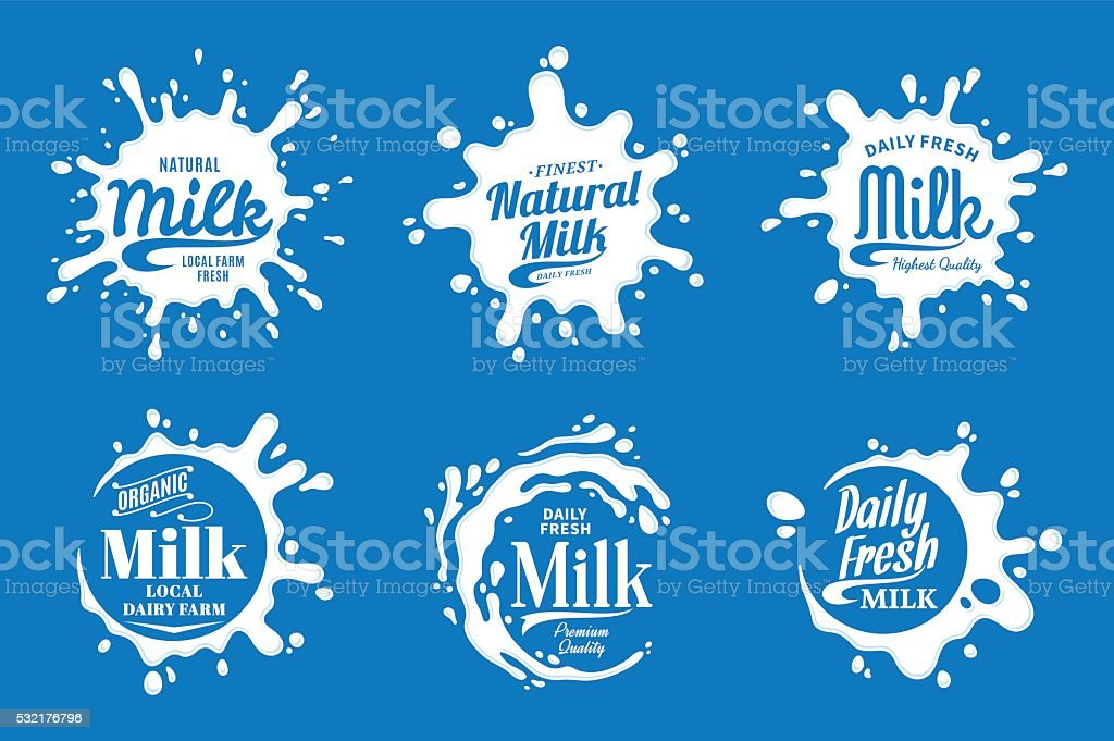 Milk Labels. Milk, Yogurt or Cream Splashes vector art illustration