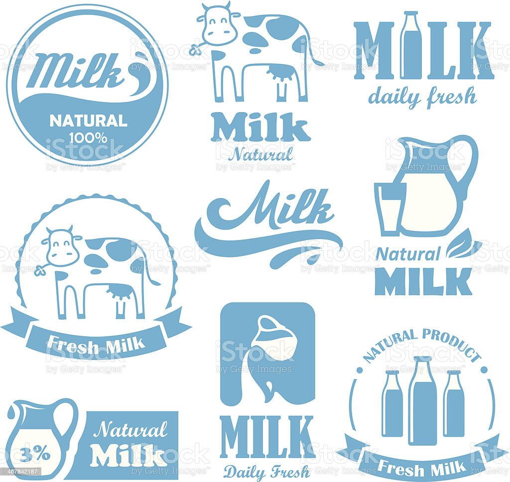 Milk labels vector art illustration