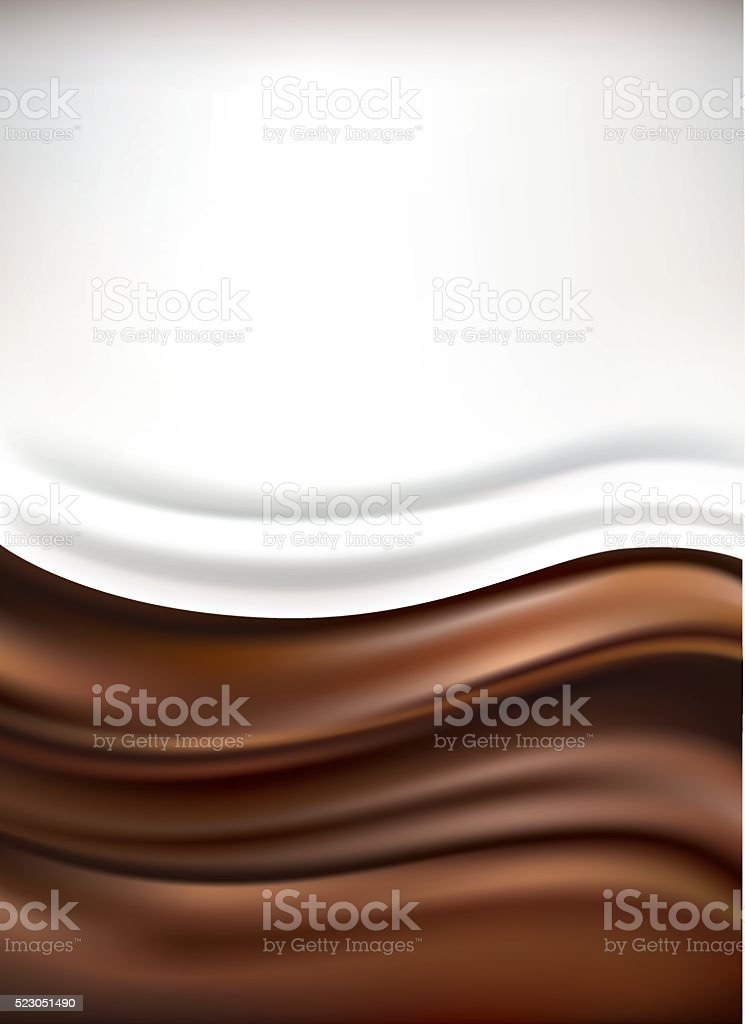 milk on chocolate background vector art illustration
