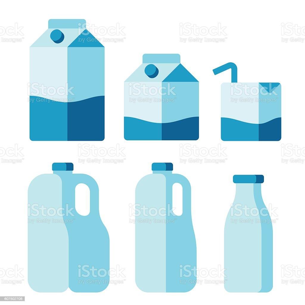 Milk package set vector art illustration