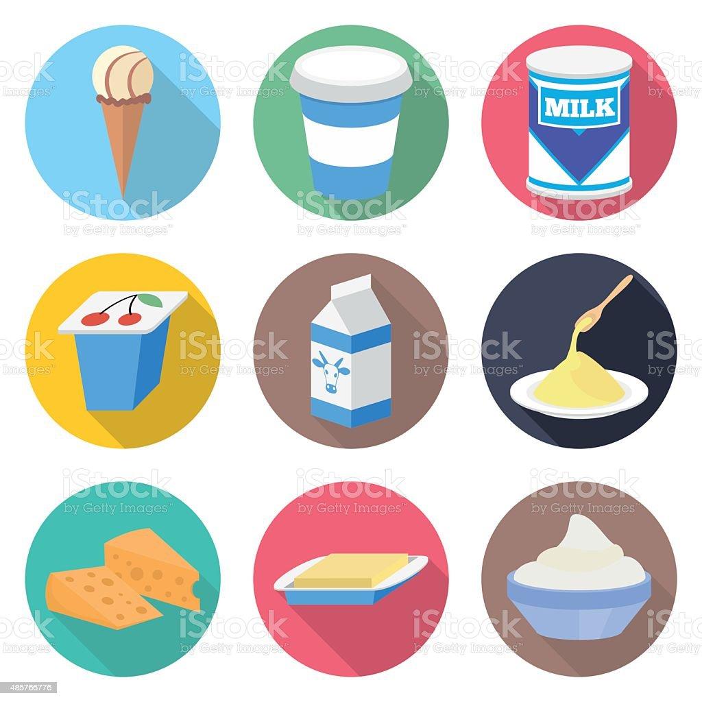 Milk products vector icon set vector art illustration