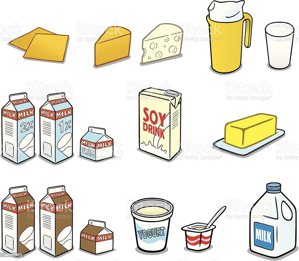 Milk Products vector art illustration