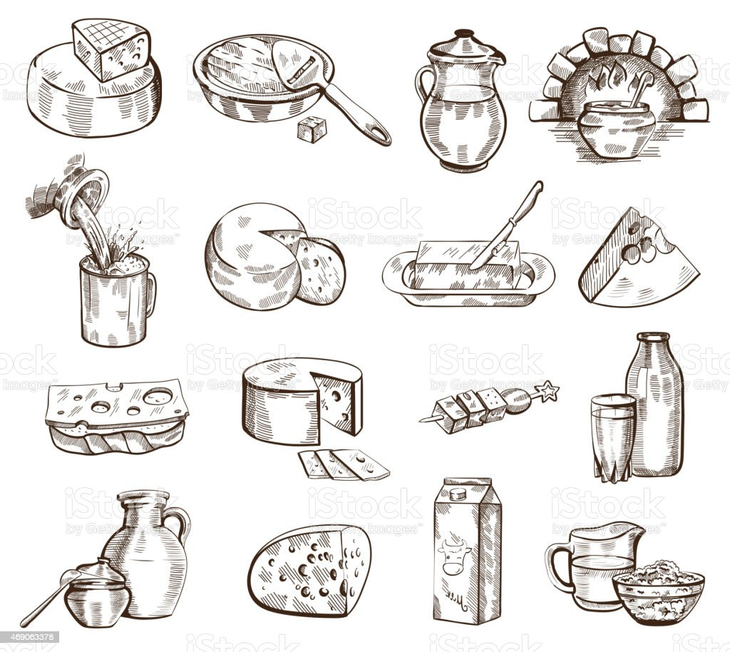 Milk products vector set vector art illustration