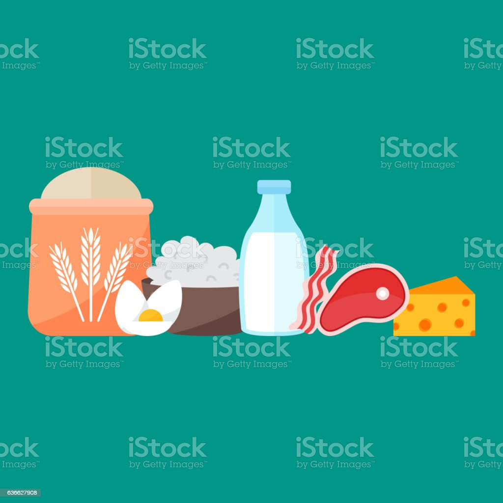Milk products vector vector art illustration