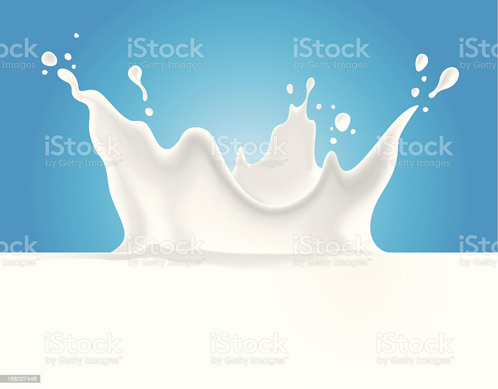 Milk splash on blue background vector art illustration