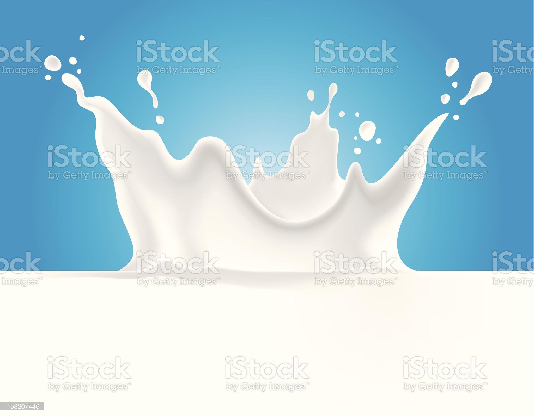 Milk splash on blue background royalty-free stock vector art