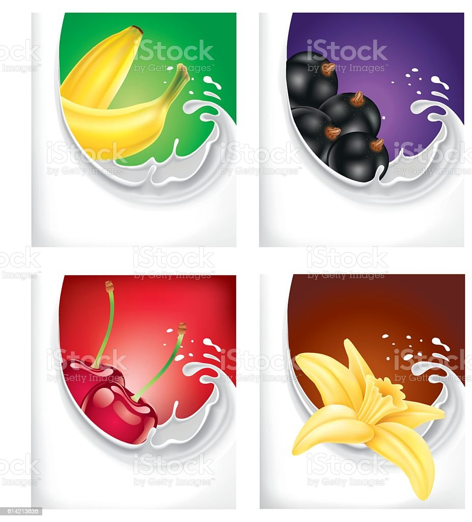 milk splash with banana, black current, cherry, vanilla flower vector art illustration