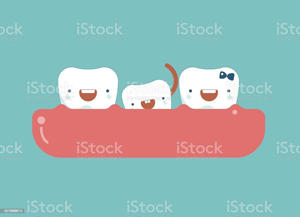 Milk tooth ,dental concept vector art illustration