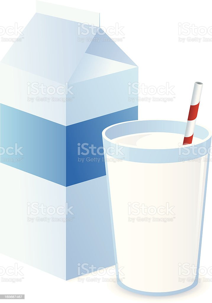 Milk with Straw and Carton vector art illustration