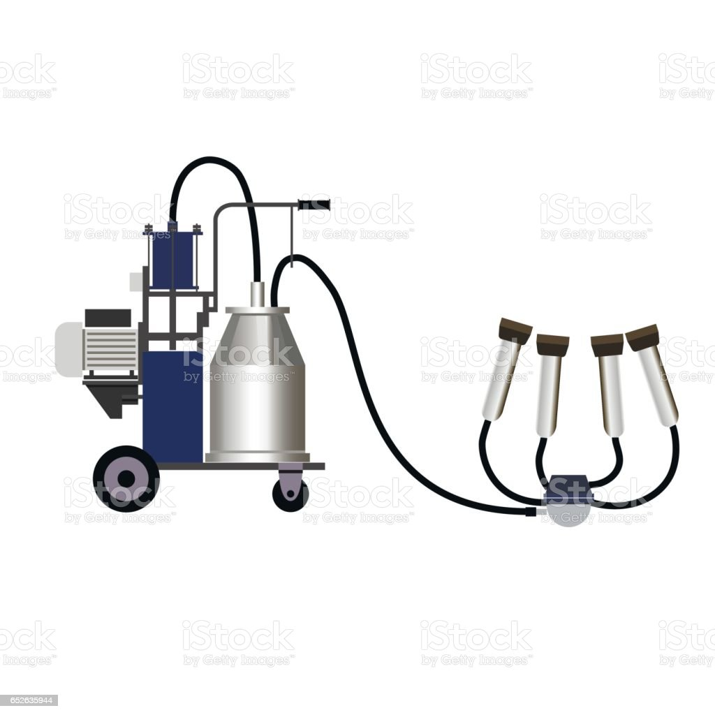 Milking machine vector art illustration