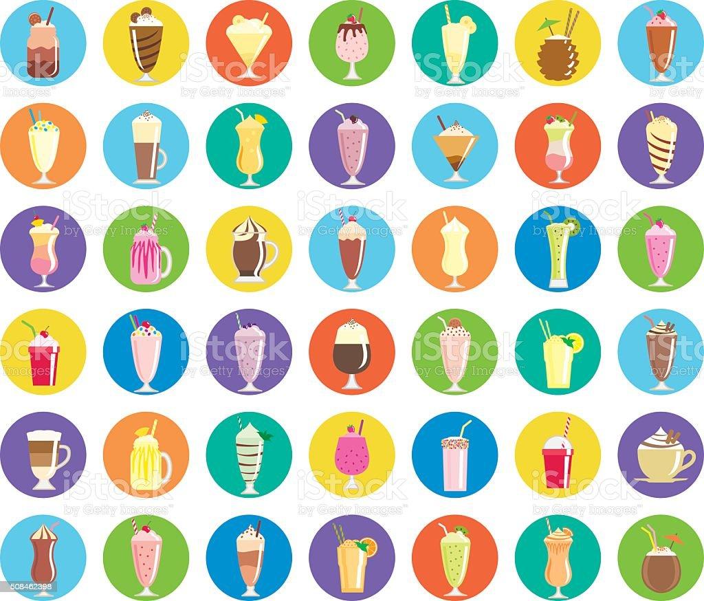 Milkshake icons vector art illustration