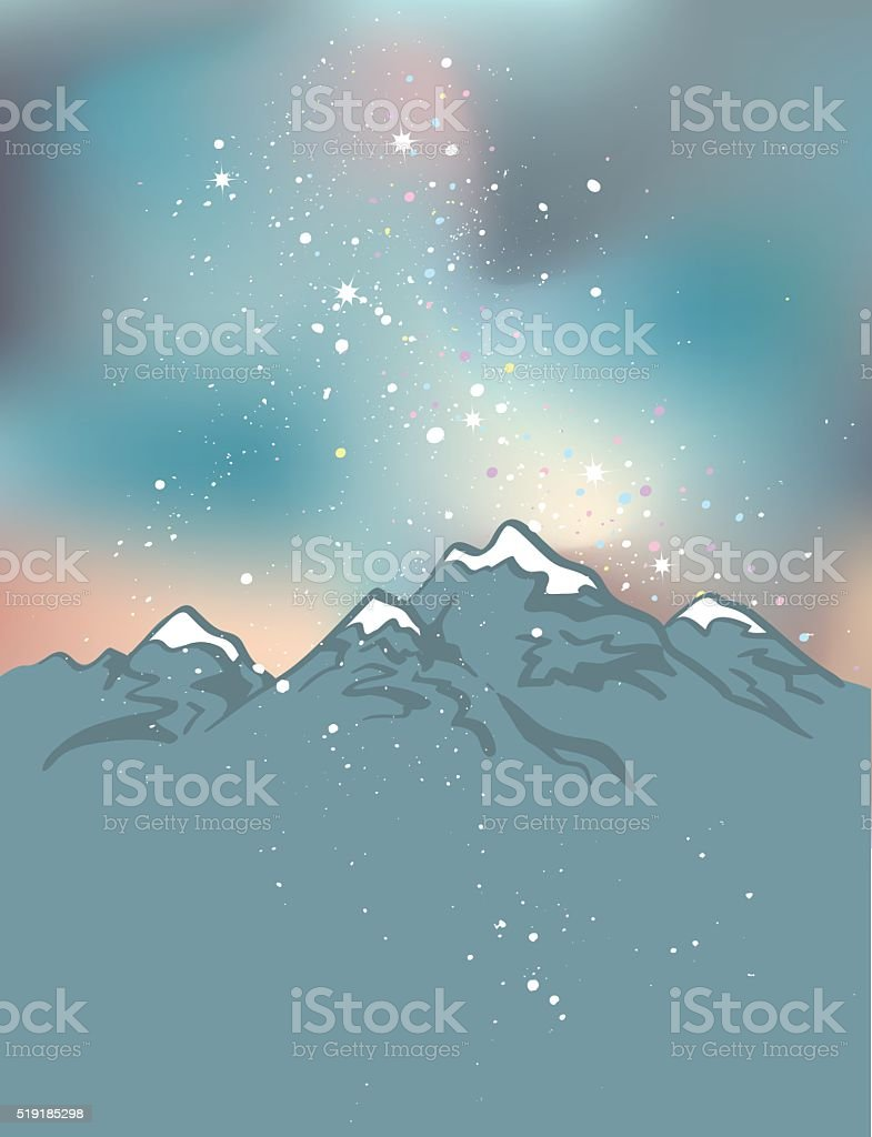 Milky Way over the Himalayan peaks. Mountains at the night. vector art illustration