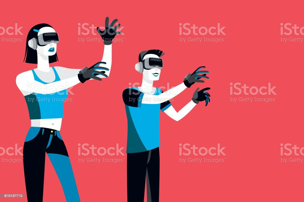 Millennials with Virtual Reality Devices vector art illustration