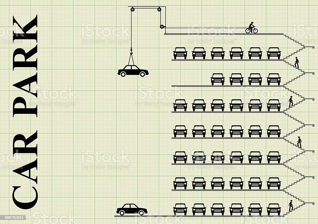 Milti storey car park vector art illustration
