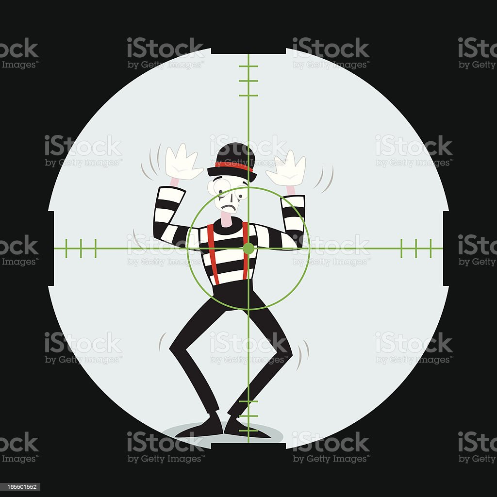 Mime in the Crosshairs vector art illustration
