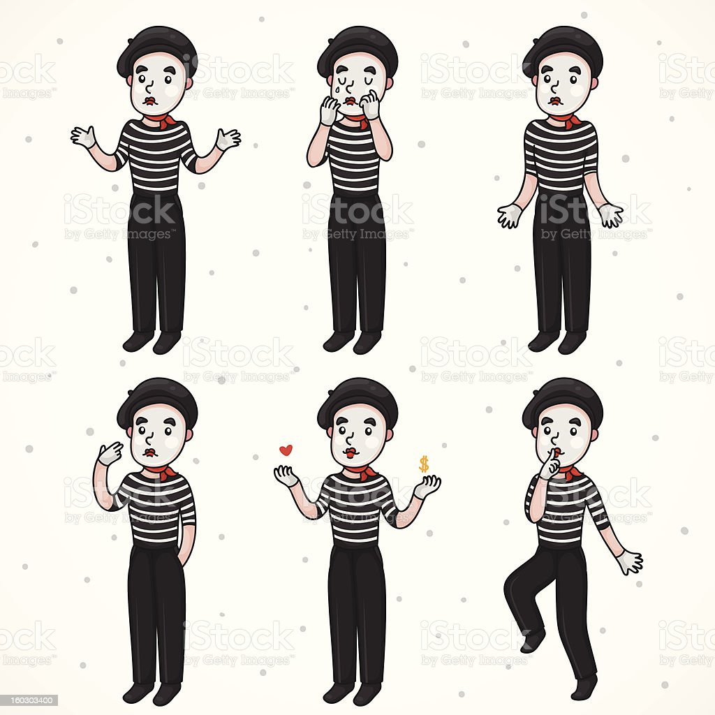 Mime sad collection royalty-free stock vector art