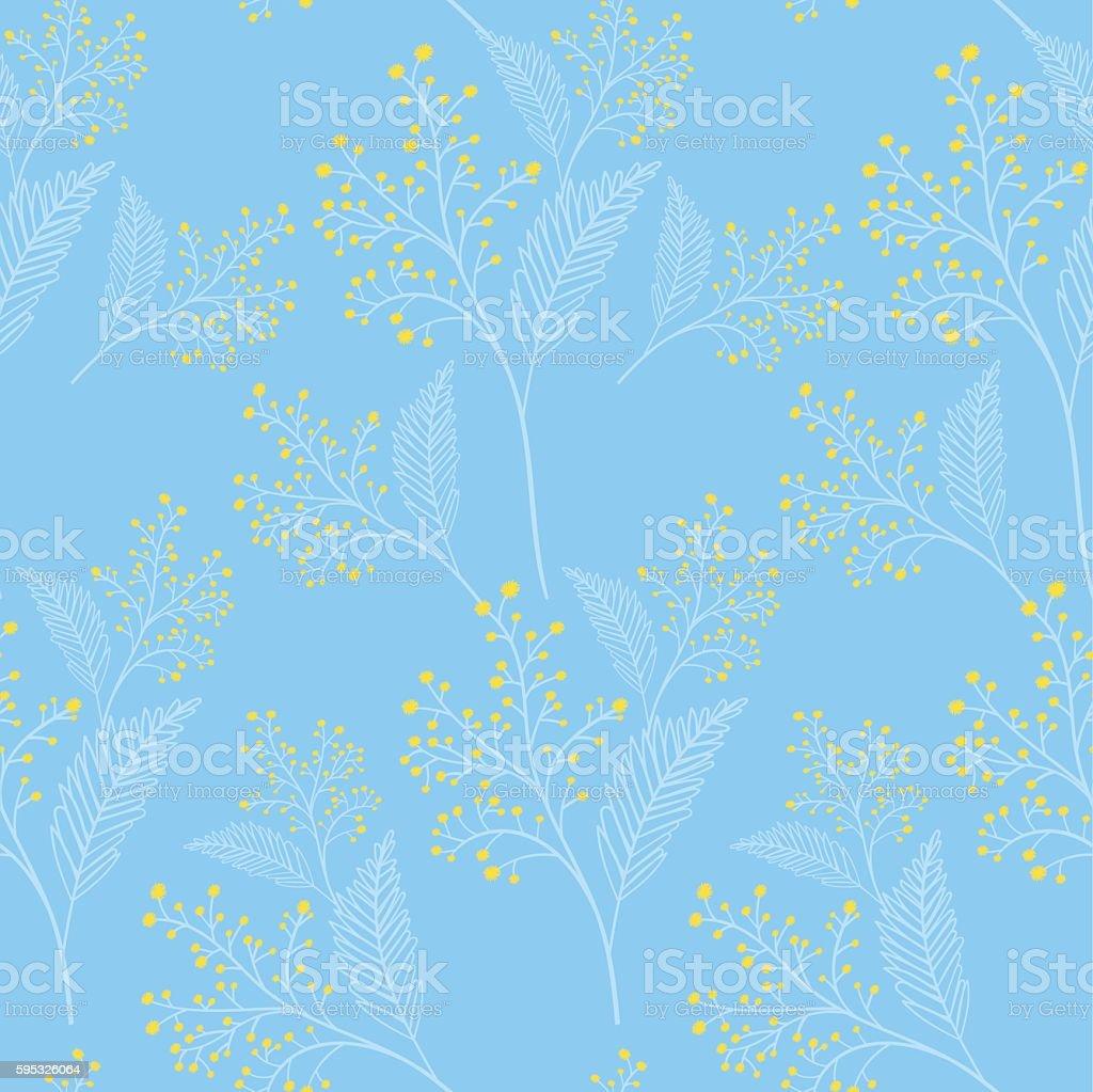 Mimosa flowers spring pattern vector seamless. vector art illustration