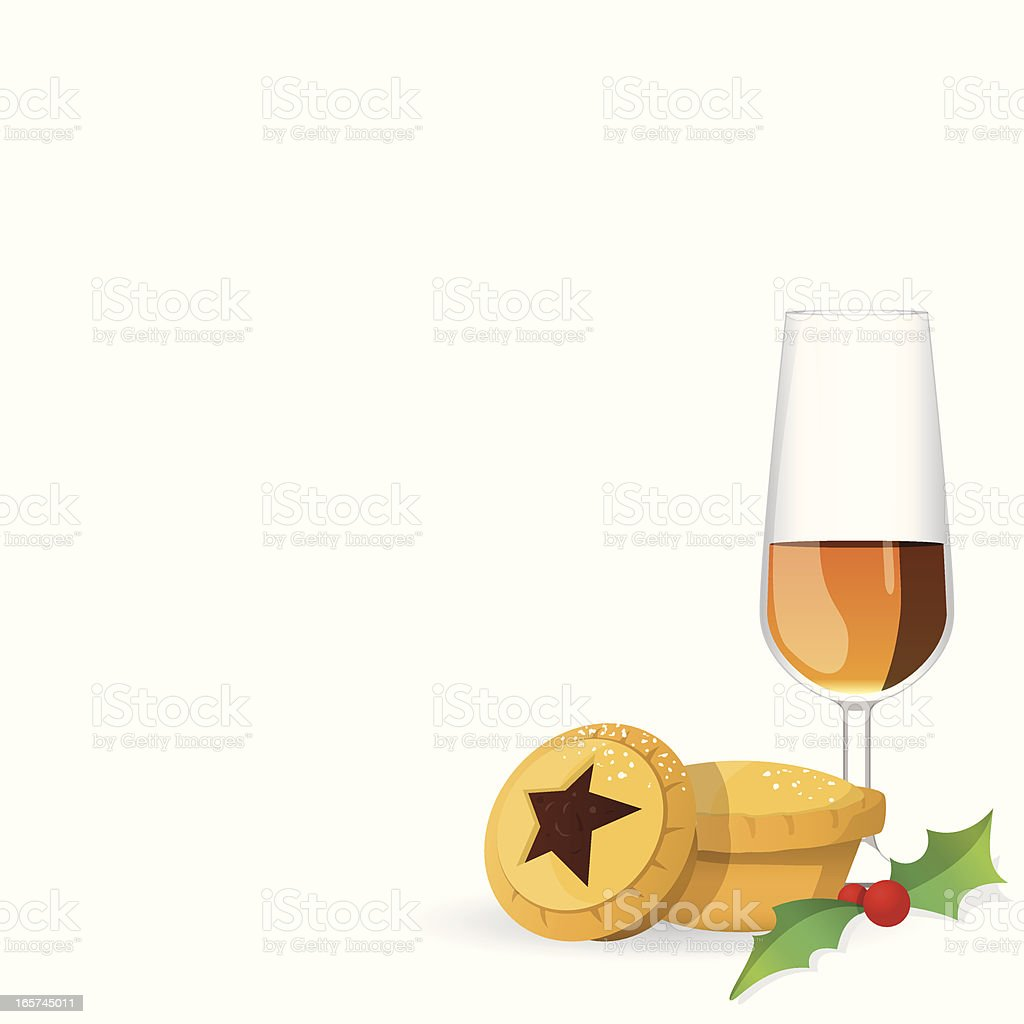 Mince Pie and Sherry for Santa vector art illustration