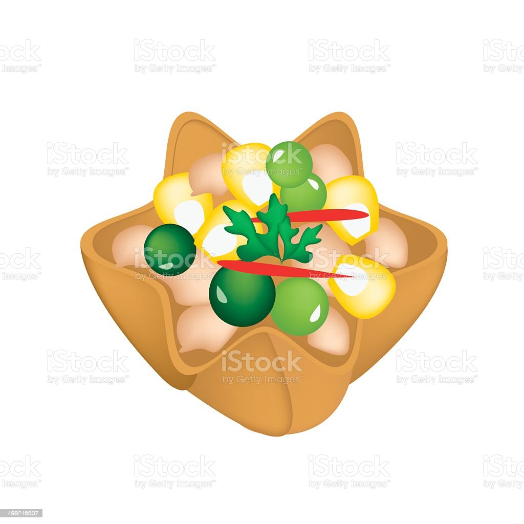 Minced Chicken and Sweet Corn in Crispy Golden Cup vector art illustration