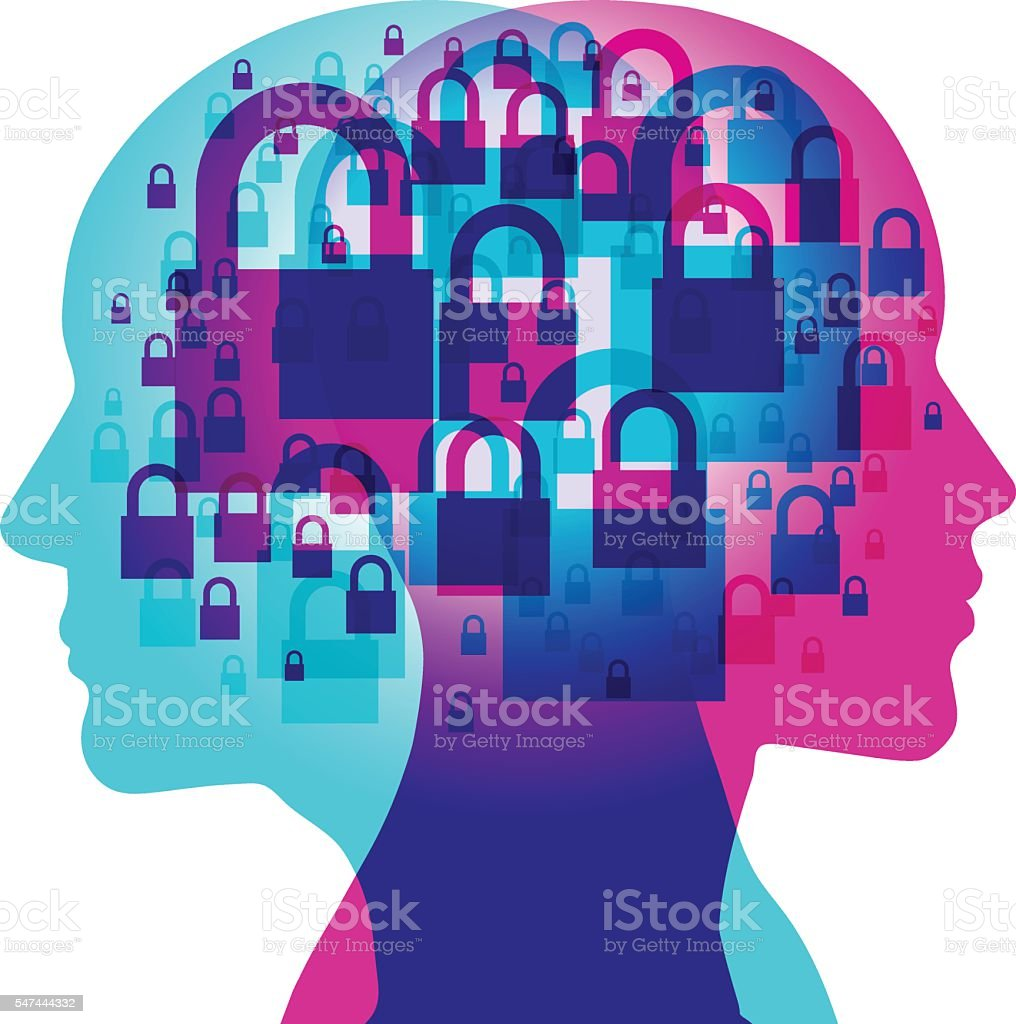 Mind Closed thinking vector art illustration