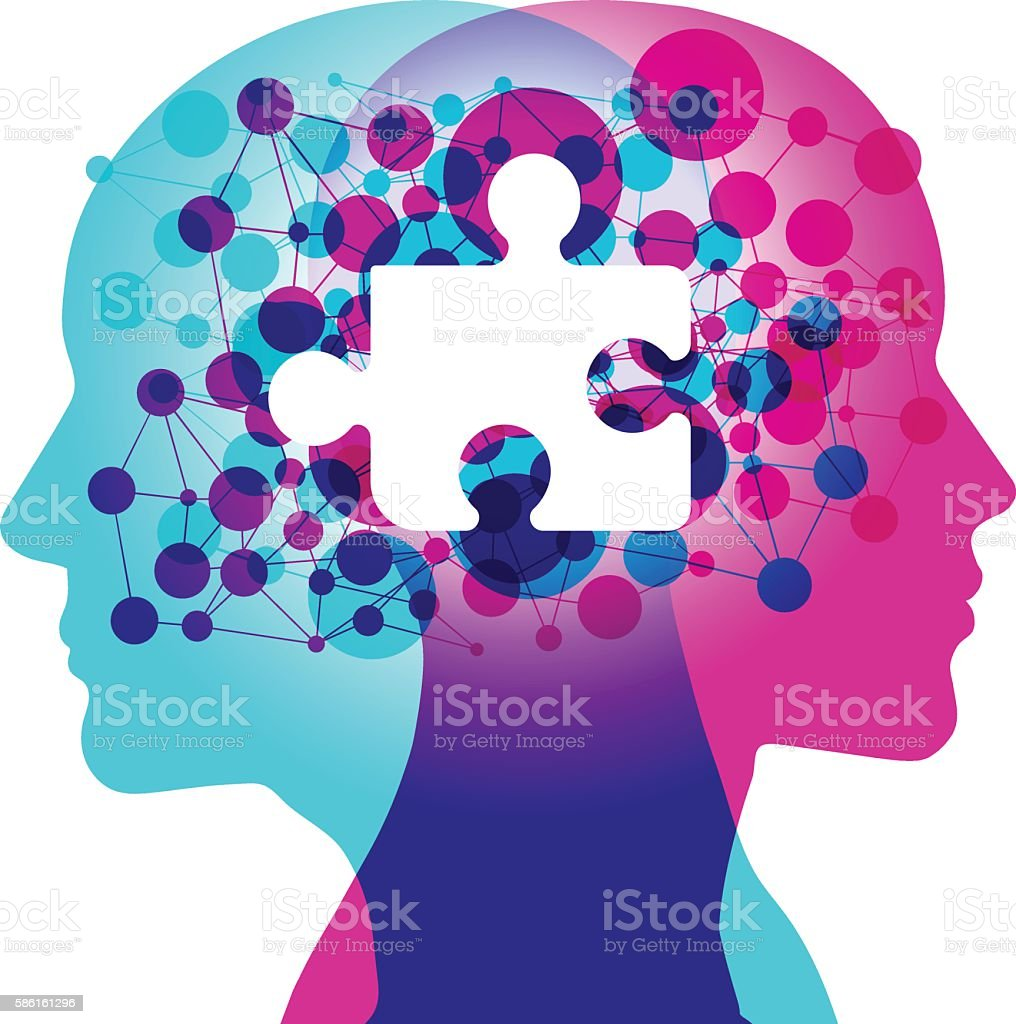 Mind Connection - Missing Piece vector art illustration