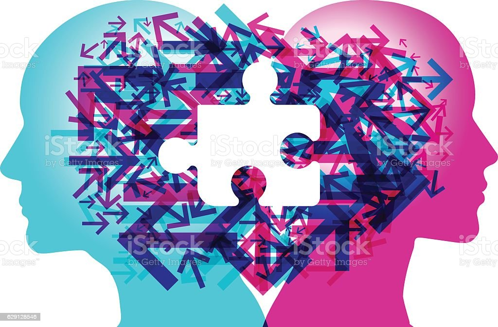 Mind Connections - Direction Missing vector art illustration