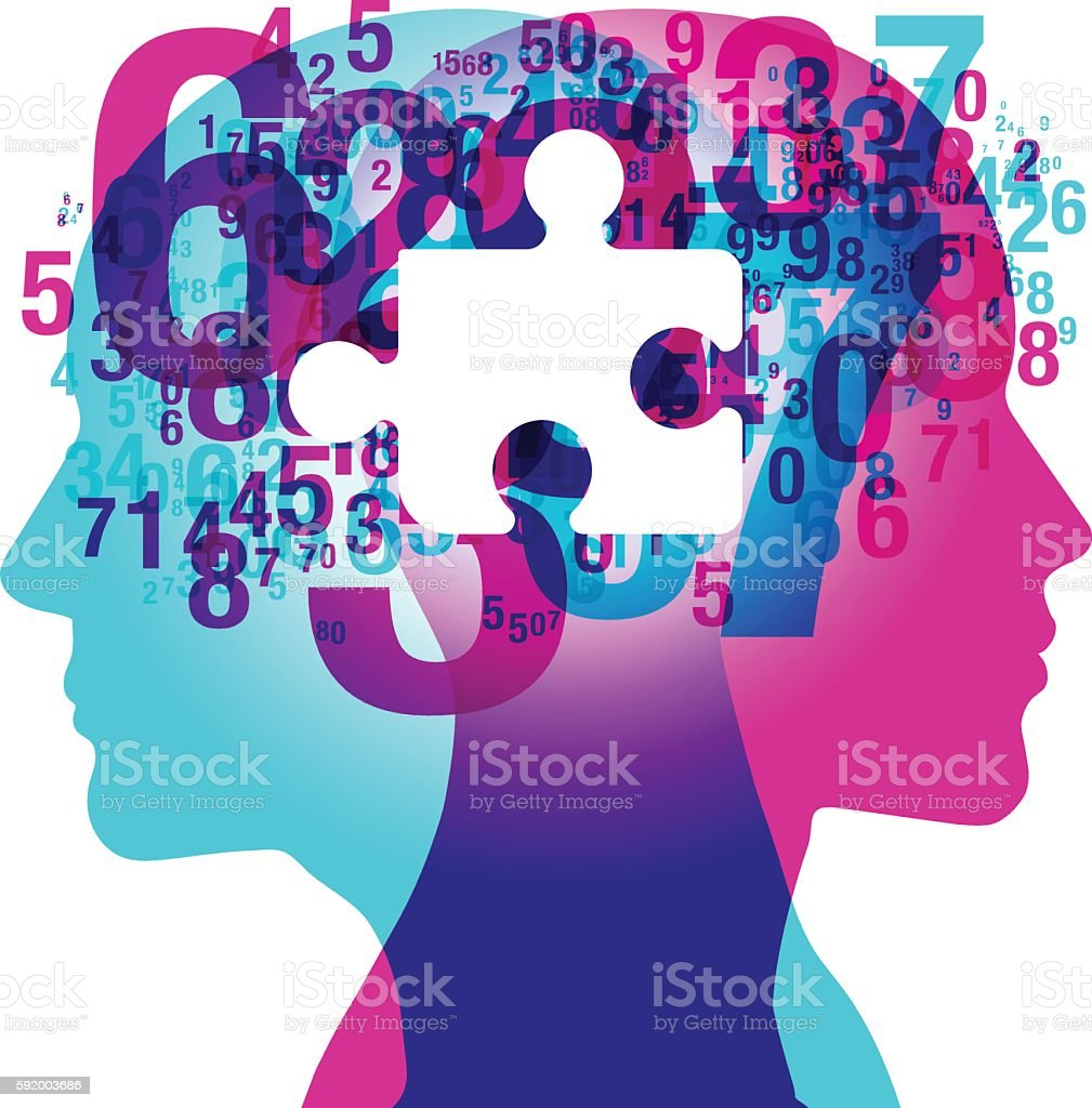 Mind Numbers Missing vector art illustration
