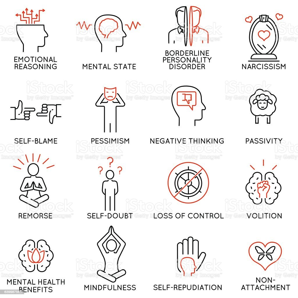 mindfulness, awareness, consciousness and mental conditions icons - 1 vector art illustration