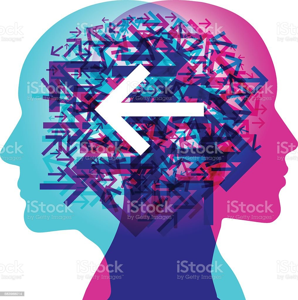 Minds Thinking Direction - Left vector art illustration