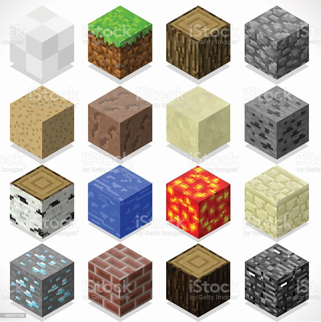 Mine Cubes 04 Elements Isometric vector art illustration