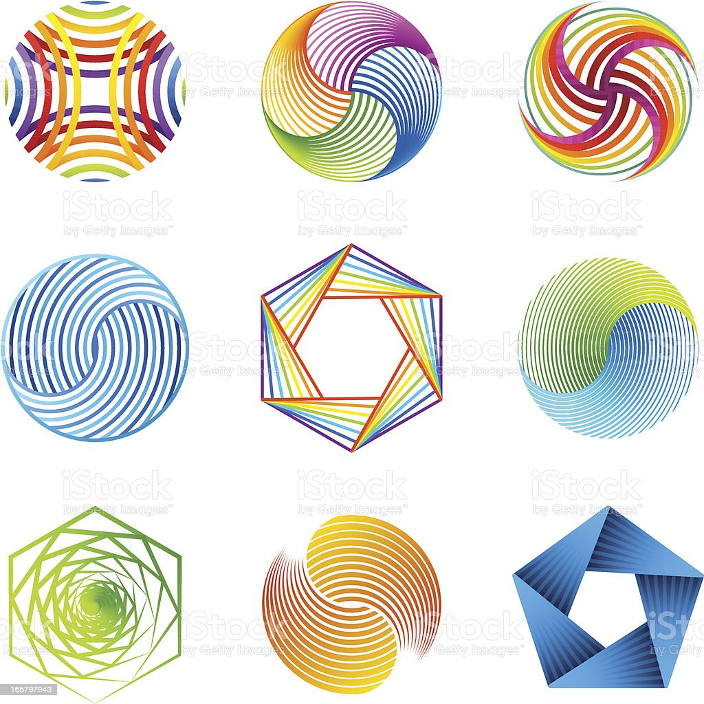 Mine geometric and line based shapes vector art illustration